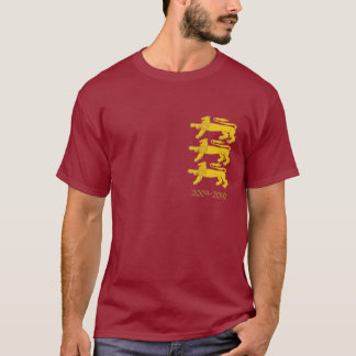 3 Golden Lions on Burgundy T-Shirt