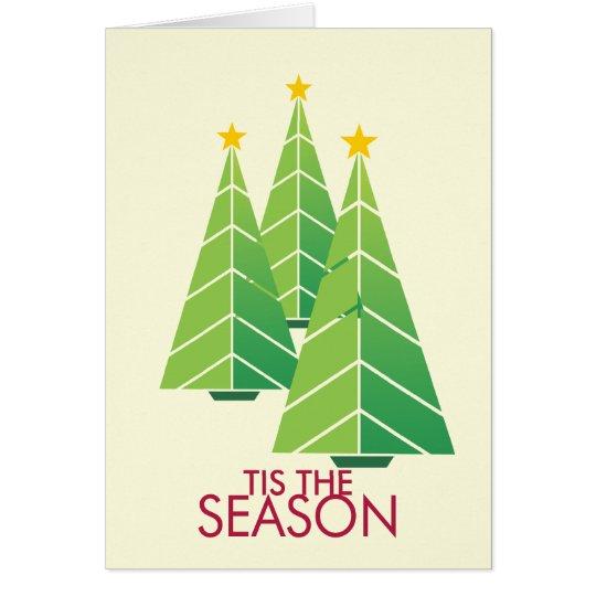 3 green Christmas trees geometric modern holiday Card