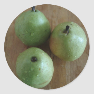 3 Green Pears Round Sticker