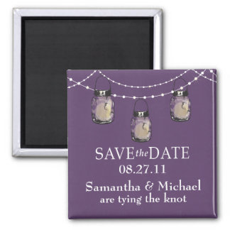 3 Hanging Mason Jars - SAVE THE DATE Square Magnet
