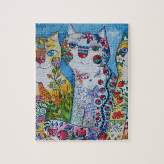 3 happy cats jigsaw puzzle