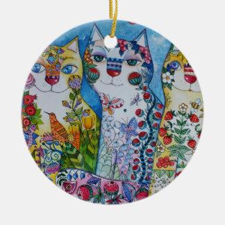 3 happy cats round ceramic decoration
