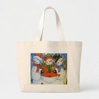 3 Happy Snowmen Large Tote Bag