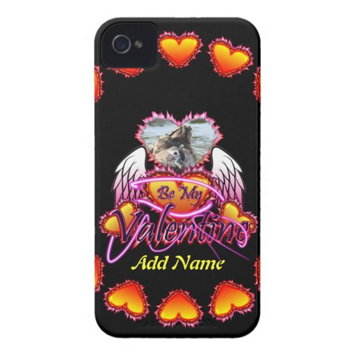 3 Hearts Angel Wings Be My Valentine sign. Case-Mate iPhone 4 Case