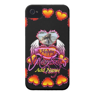 3 Hearts Angel Wings Happy Valentine s Day sign iPhone 4 Covers