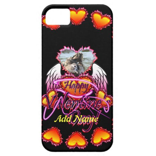 3 Hearts Angel Wings Happy Valentine's Day sign iPhone 5 Cases