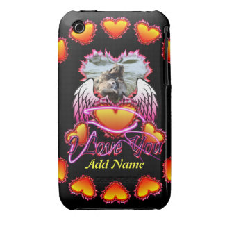 3 Hearts Angel Wings I Love You sign Case-Mate iPhone 3 Cases