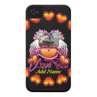 3 Hearts Angel Wings I Love You sign. iPhone 4 Case-Mate Cases
