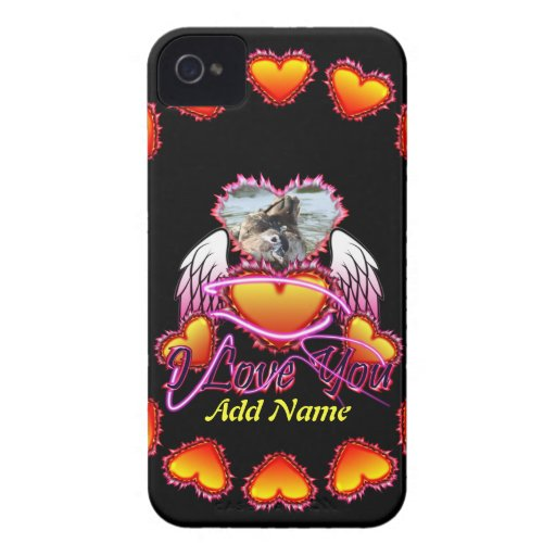 3 Hearts Angel Wings I Love You sign. Case-Mate iPhone 4 Cases