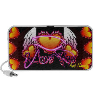 3 Hearts Angel Wings I Love You sign. Speaker System