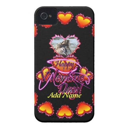 3 Hearts Happy Valentine's Day neon sign iPhone 4 Cases