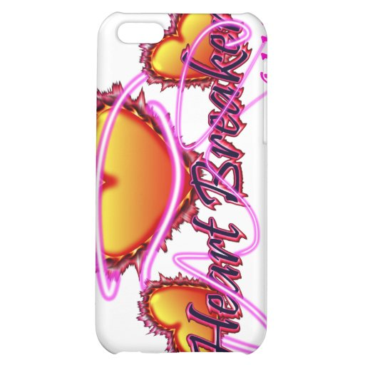 3 Hearts Heart Breaker neon sign with reflection Cover For iPhone 5C