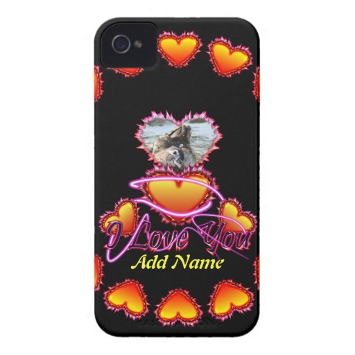 3 Hearts I Love You neon sign Case-Mate iPhone 4 Cases