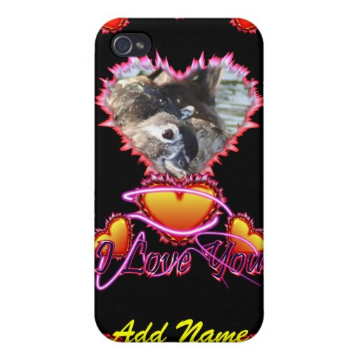 3 Hearts I Love You neon sign Covers For iPhone 4