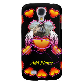 3 Hearts with angel wings and neon sign Samsung Galaxy S4 Cases