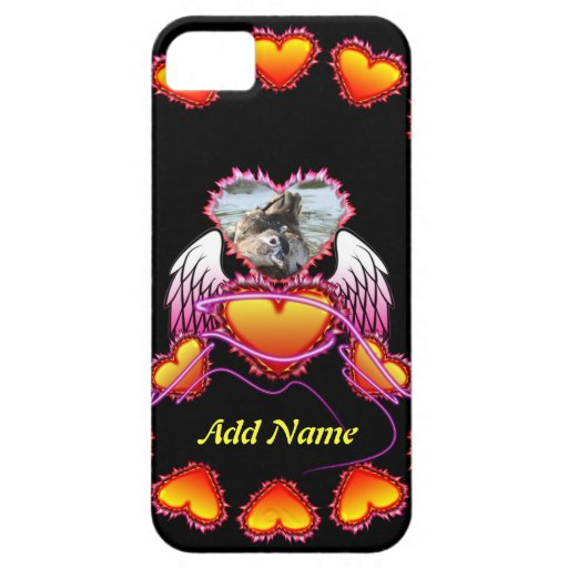 3 Hearts with angel wings and neon sign. iPhone 5 Case