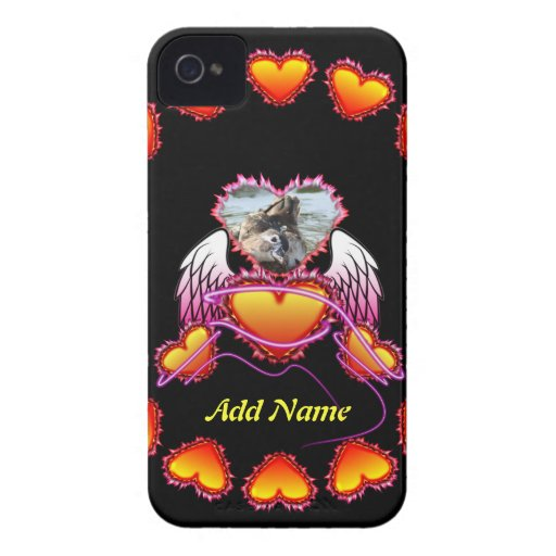 3 Hearts with angel wings and neon sign. iPhone 4 Cover