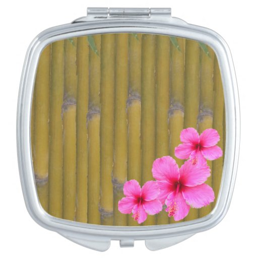 3 Hibiscus on Bamboo Compact Mirror