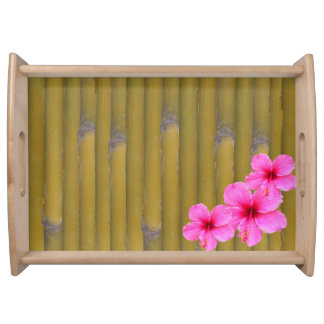 3 Hibiscus on Bamboo Serving Tray