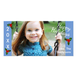 3 Holly Blue Happy Holidays-Christmas Photo Card