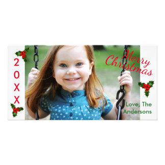 3 Holly White Merry Christmas-Christmas Photo Card