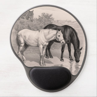 3 horses B&W Gel Mouse Pads