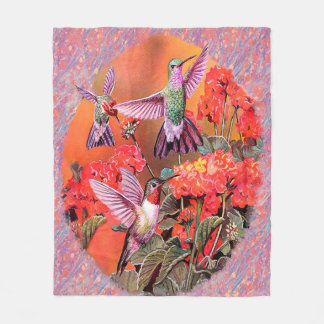 3 Hummingbirds Fleece Blanket