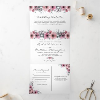 3 in 1 Elegant Pink Watercolor Floral Wedding Tri-Fold Invitation