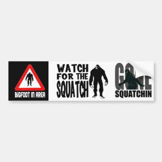 3-in-1 mini Bumper Stickers! Squatch or Bigfoot Bumper Sticker