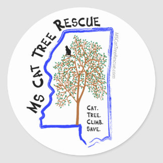 3-in Round Sticker with MSCatTreeRescue logo