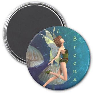 3 Inch Round Magnet; Fairy Collection: Breena 7.5 Cm Round Magnet