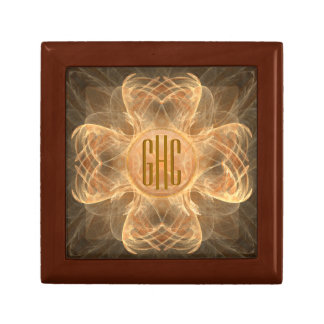 3-initial Monogram Brown 4 Leaf Clover Jewelry Box