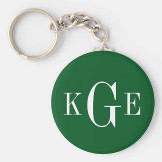 3 initial monogram green white groomsmen key fob basic round button key ring