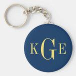 3 initial monogram navy yellow groomsmen key fob