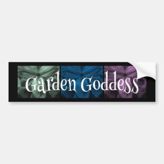 """3 Irises: """"Garden Goddess"""" Cool Forest2 colors Bumper Sticker"""
