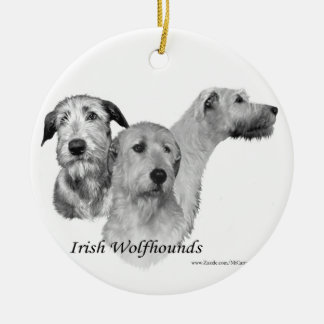 3 Irish Wolfhound heads Christmas Ornament