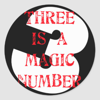 3 is a Magic Number Round Sticker