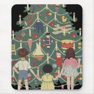 3 Kids and A Christmas Tree - Vintage Illustration Mouse Pad