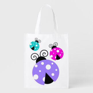 3 Ladybugs in Purple Pink and Blue Reusable Grocery Bag