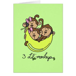 3 Li'l Monkeys Tshirts and Gifts Greeting Card