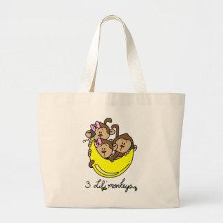 3 Li'l Monkeys Tshirts and Gifts Jumbo Tote Bag