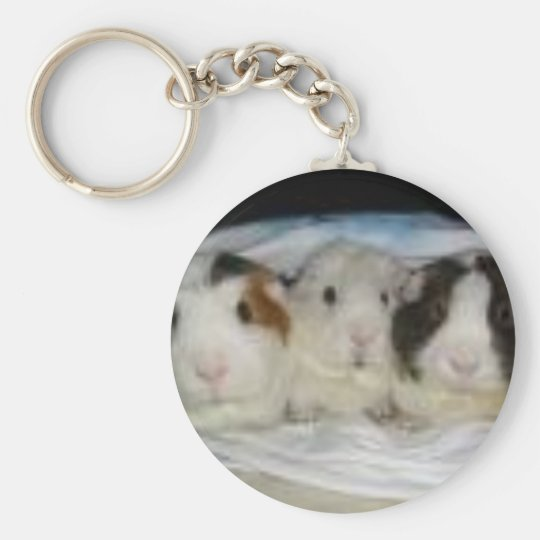 3 little pigs basic round button key ring