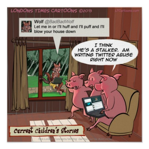 3 Little Social Media Savvy Pigs Funny Print
