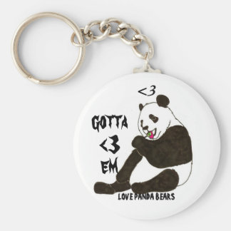 <3 LOVE PANDA BEARS KEYCHAIN