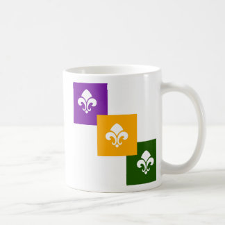 3 Mardi Gras Colored Boxes w/Fleur de Lis Mug