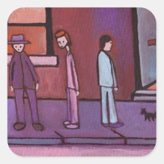 (3 Men and a cat Sticker) Square Sticker