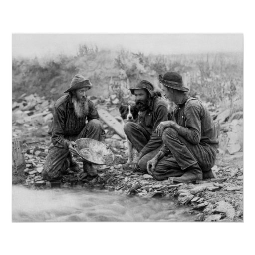 3 MEN and DOG PANNING for GOLD c. 1889 Print
