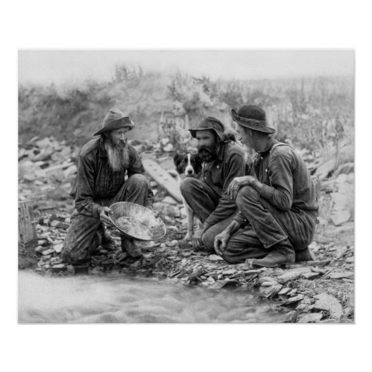 3 MEN and DOG PANNING for GOLD c.