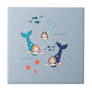 3 Mermaids Small Square Tile