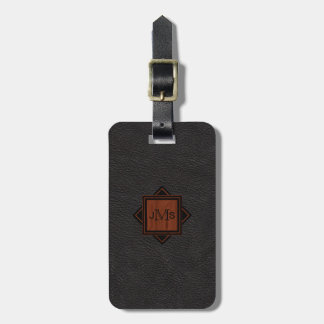 3 Modern Monogrammed Initials | Wood Black Leather Bag Tag
